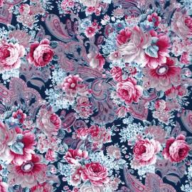 Feuille décopatch 30x40cm fleurs pivoines roses fond bleu