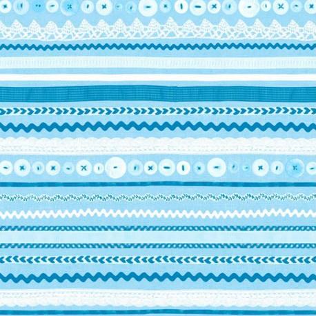 Feuille décopatch 30x40cm fond blanc bandes bleu et blanc