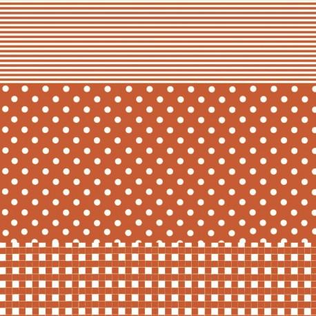 Feuille décopatch 30x40cm rayé carreau pois orange
