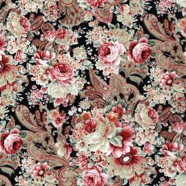 Feuille décopatch 30x40cm fleurs pivoines roses fond noir