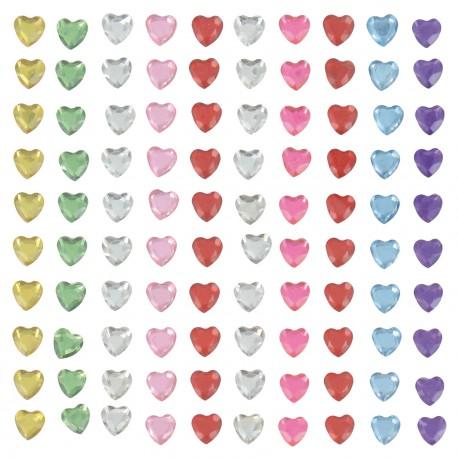 Strass coeur adhésifs multicolores