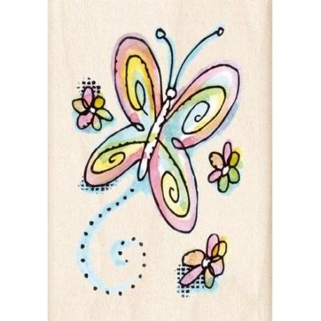 Tampon bois papillon et petites fleurs 6x3.5cm ***