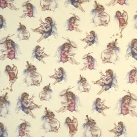 Papier tassotti motifs chérubins instruments de musique rose et bleu 50x70cm 214