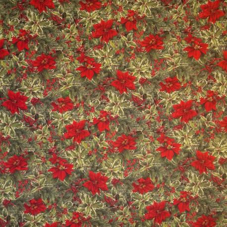 Papier tassotti motifs bouquets de noel poinsettia, houx et sapin 50x70cm 210