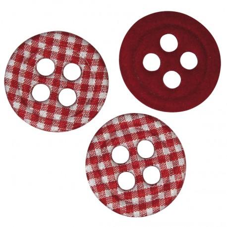 bouton décoratif en tissu vichy rouge 30mm