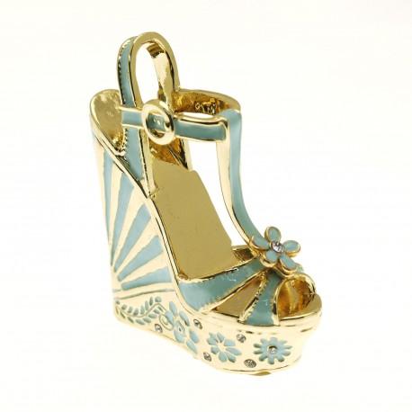 Chaussure miniature collection escarpin bleu or laetitia