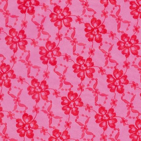 Feuille décopatch 30x40cm fond rose dentelle et fleurs rouge