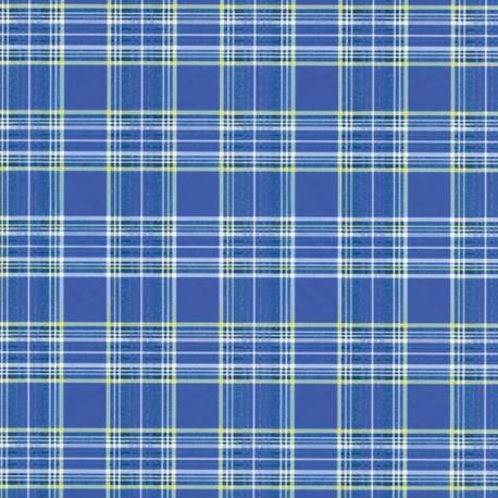 Feuille décopatch 30x40cm écossais fond bleu lignes blanche et verte
