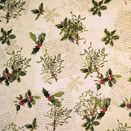 Papier tassotti motifs écriture de noël houx et gui 50x70cm 366