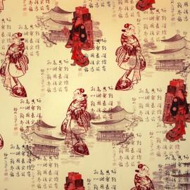 Papier tassotti motifs et sinogrammes japonais 50x70cm