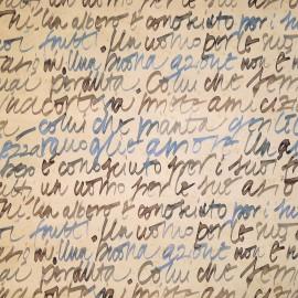 Papier tassotti motifs calligraphie moderne bleu, gris et prune 50x70cm 501