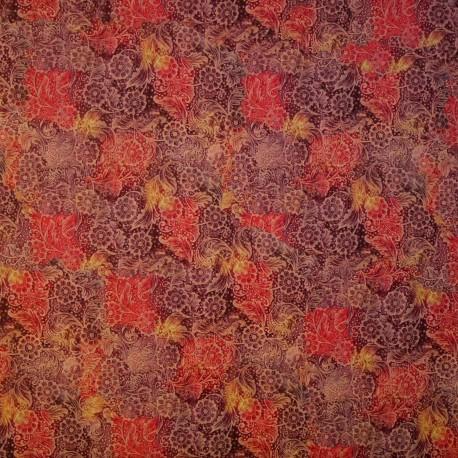 Papier tassotti motifs fleurs anciennes violet, rouge et or 50x70cm 7000