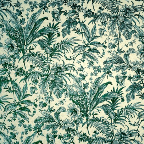 Papier tassotti motifs fleurs avec feuillages bleu 50x70cm 1664