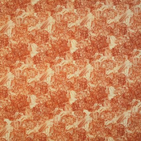 Papier tassotti motifs bouquet de fleurs avec épis de blé cuivré 50x70cm 1714