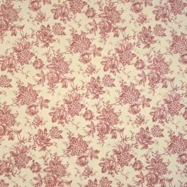 Papier tassotti motifs fleurs avec feuillages rouge 50x70cm 1665