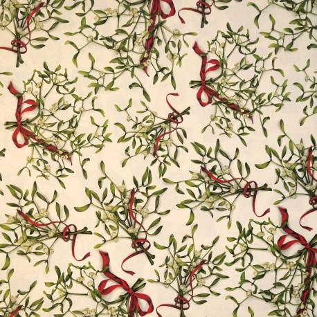 Papier tassotti motifs branches de gui et ruban rouge 50x70cm 1637