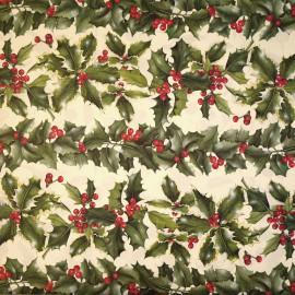 Papier tassotti motifs feuilles de houx vert et rouge 50x70cm 189
