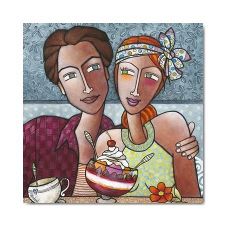 Carte Postale 14x14 cm Géraldine Bandiziol la cerise sur le gateau