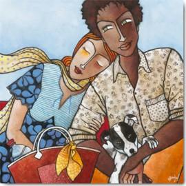 Carte Postale 14x14 cm Géraldine Bandiziol un vent de tendresse