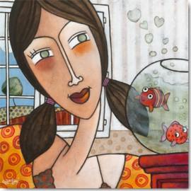 Carte Postale 14x14 cm Géraldine Bandiziol le rencard de maelys
