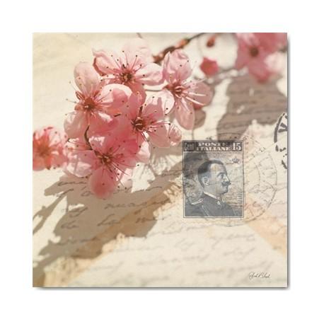 Carte Postale 14x14 cm Deborah Schenck vintage letters and cherry