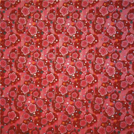 Papier japonais fleurs roses 50x70cm