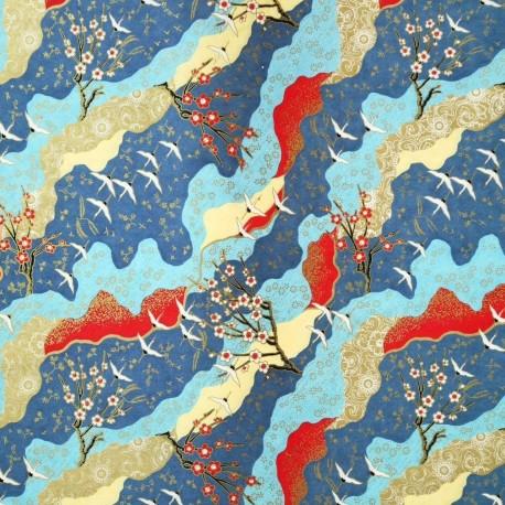 Papier japonais grues et cerisiers japonais bleu, rouge et or 50x70cm