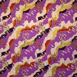 Papier japonais grues et cerisiers fond violet 50x70cm