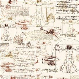 Papier tassotti motifs Léonard de Vinci 50x70cm