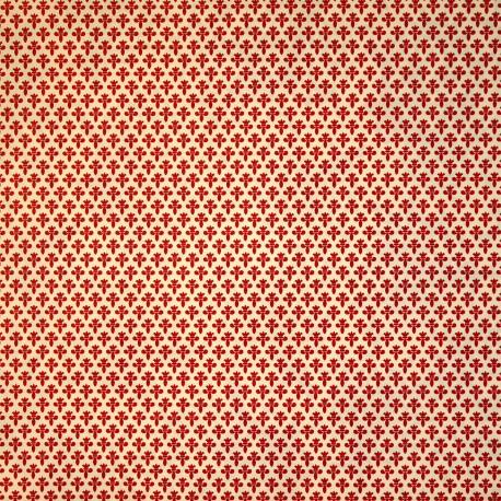 Papier tassotti motifs fleurs de lys rouge 50x70cm 1663