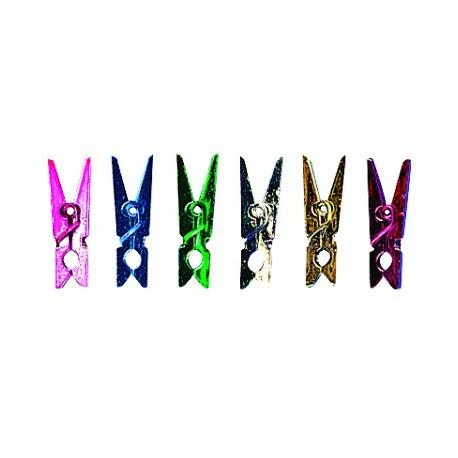 pinces à linge plastique couleurs métalliques par 10 - 2.5 x 0.5 cm
