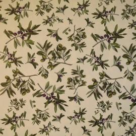 Papier tassotti motifs olives et rameau olivier vert et noir olive 50x70cm 1734