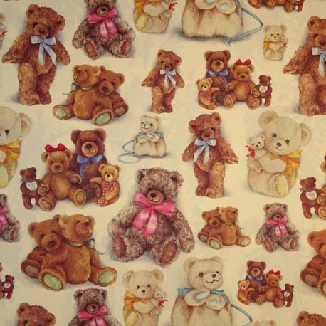 Papier tassotti motifs ours en peluche aux rubans 50x70cm 169