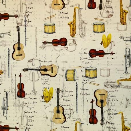 Papier tassotti motifs partitions et instruments de musique 50x70cm