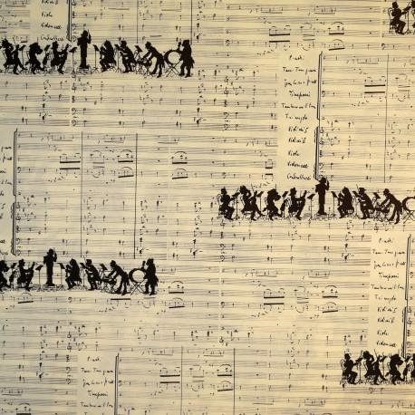 Papier tassotti motifs orchestre sur partition noir et blanc 50x70cm 143
