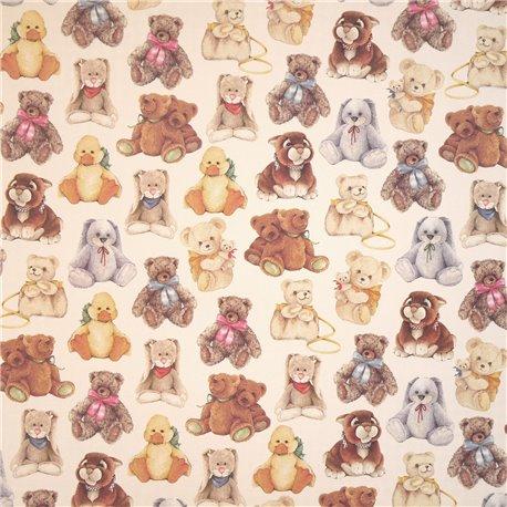 Papier tassotti motifs peluches ours, lapin et canard 50x70cm 696