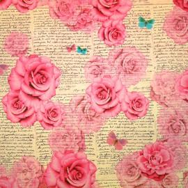 Papier tassotti motifs roses romantiques 50x70cm