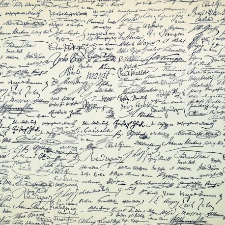 Papier tassotti motifs signatures bleu 50x70cm