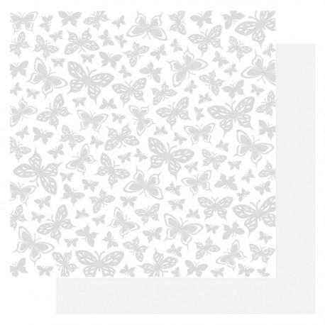 papier scrapbooking basic glitter paper blanc papillon 3.5 cm blanc irisé