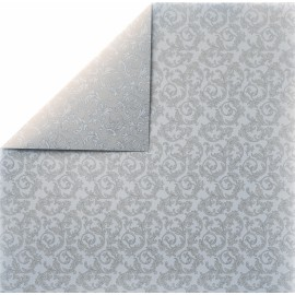 papier scrapbooking lisse arabesque blanc perle et verso argent