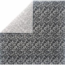 papier scrapbooking lisse arabesque noir argent et verso blanc noir