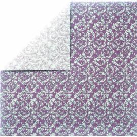papier scrapbooking lisse arabesque rouge argent et verso blanc rouge