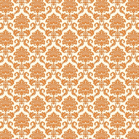papier scrapbooking floqué banc arabesque en velours orange
