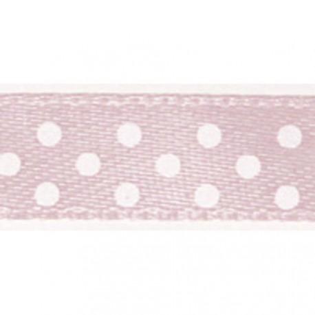 Ruban tissu 10m satin rose layette pois blanc 9.5 mm