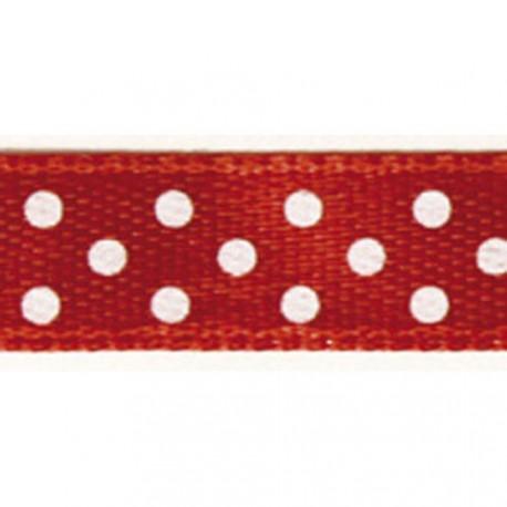 Ruban tissu 10m satin rouge pois blanc 9.5 mm