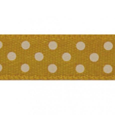 Ruban tissu 10m satin jaune mais pois blanc 9.5 mm