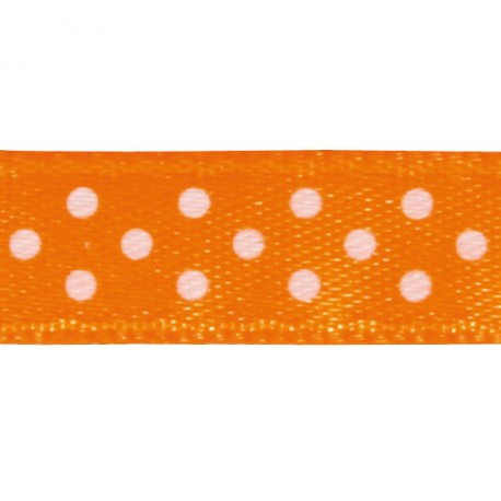Ruban tissu 10m satin orange pois blanc 9.5 mm