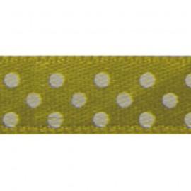 Ruban tissu 10m satin vert anis pois blanc 9.5 mm