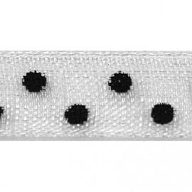 Ruban tissu 10m organdi blanc pois noir 6mm