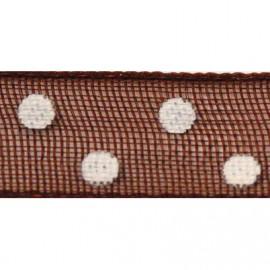 Ruban tissu 10m organdi marron chocolat pois blanc 6mm